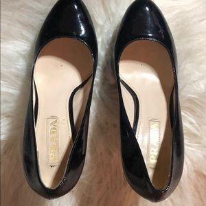 Prada black patent leather platform 37